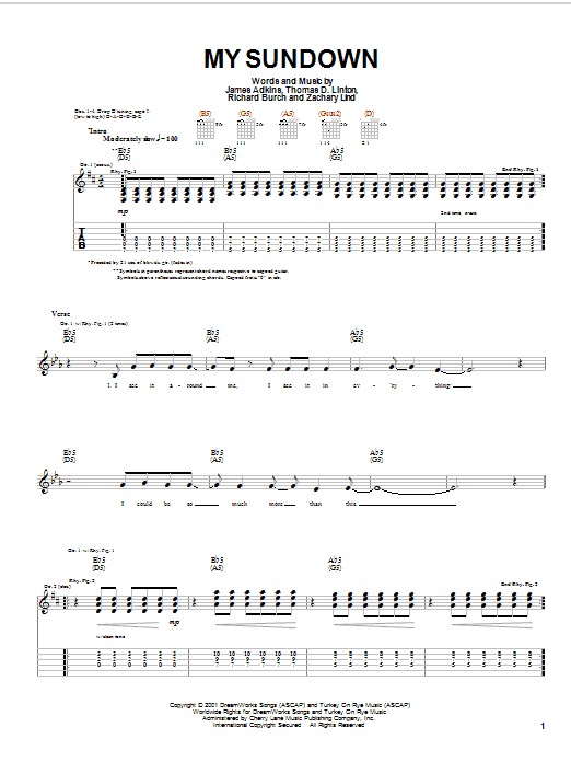 Tablature guitare My Sundown de Jimmy Eat World - Tablature Guitare