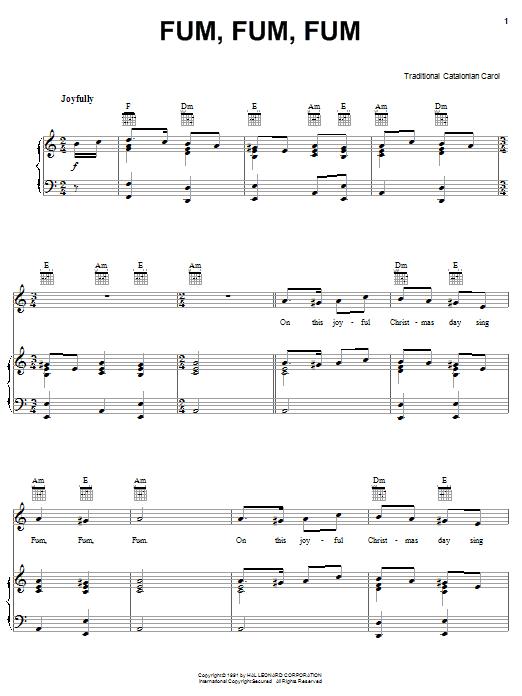 Partition piano Fum, Fum, Fum de Christmas Carol - Piano Voix Guitare (Mélodie Main Droite)