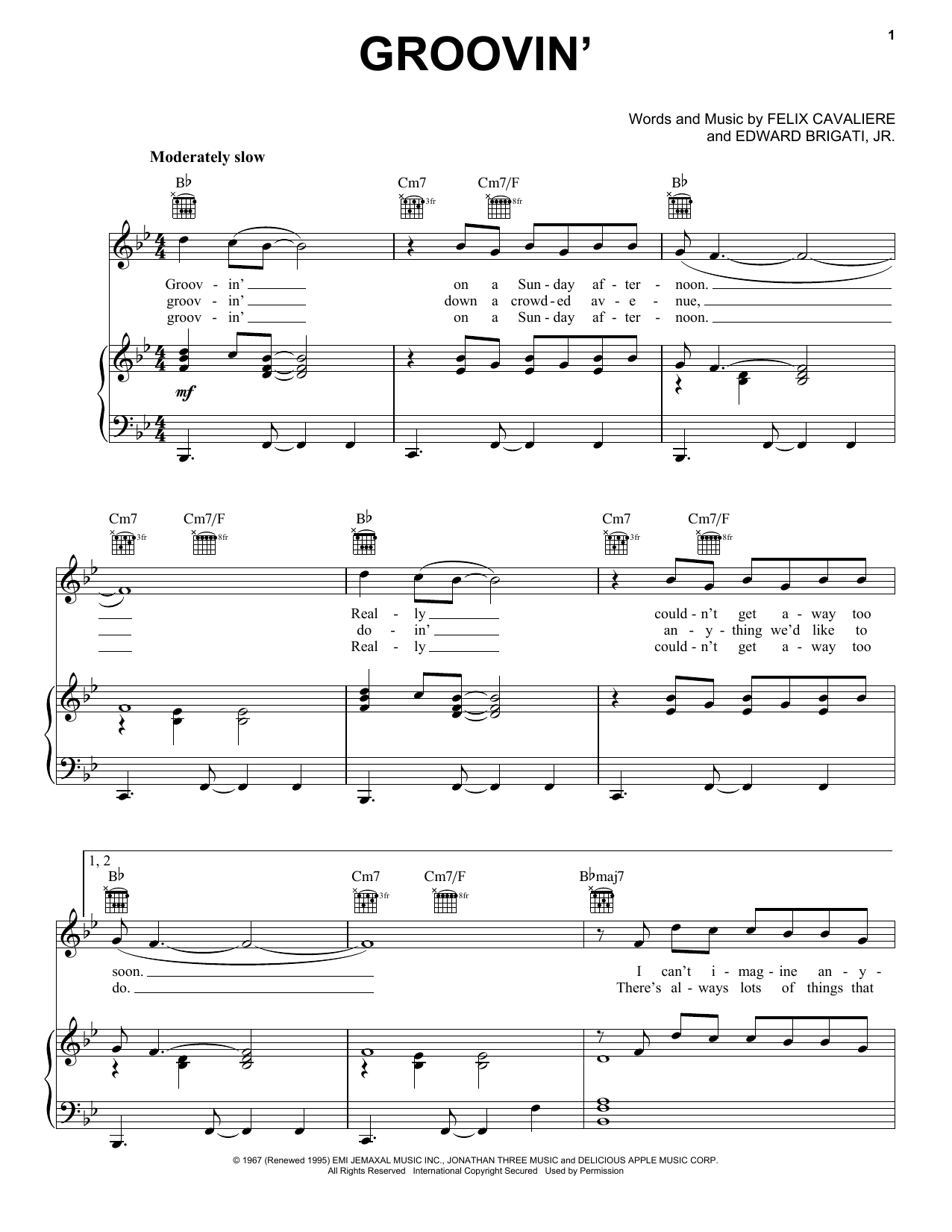 Groovin' sheet music for voice, piano or guitar by Felix Cavaliere