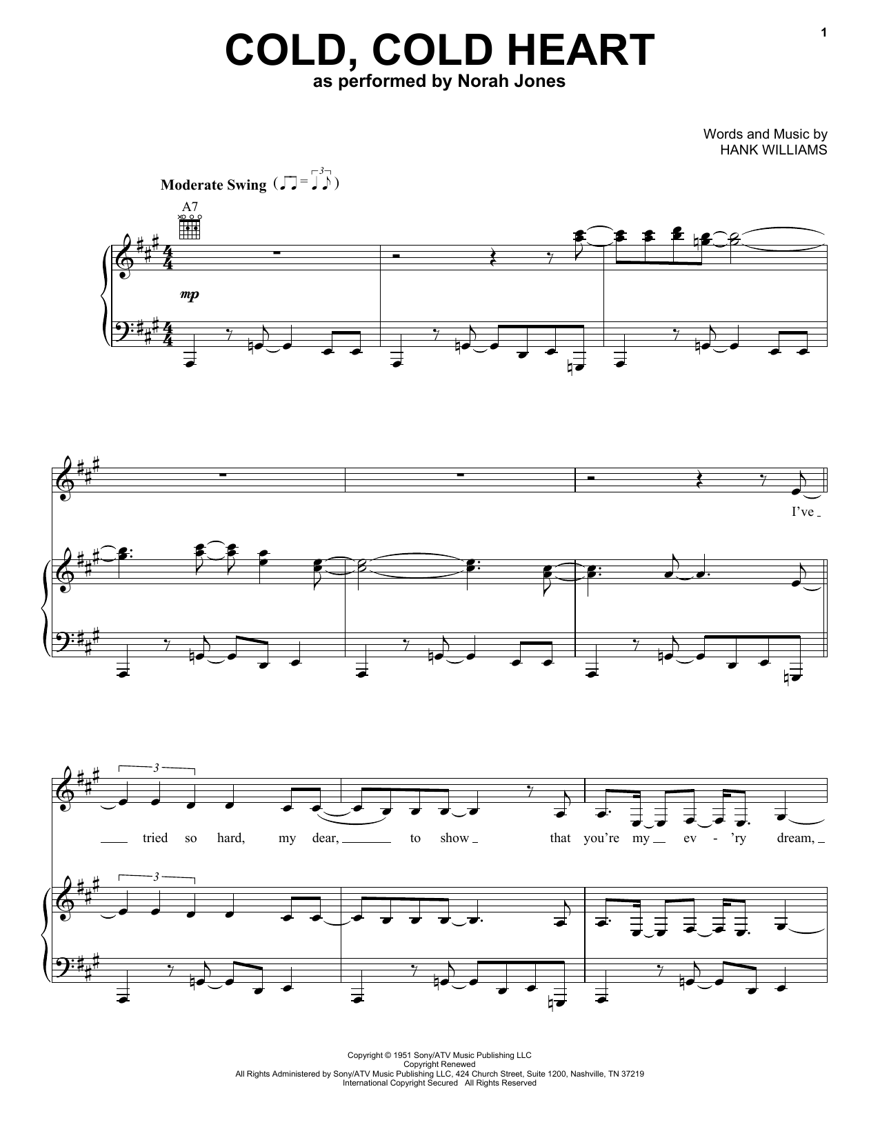 Partition piano Cold, Cold Heart de Norah Jones - Piano Voix Guitare (Mélodie Main Droite)