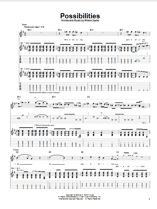 Tablature guitare Possibilities de Weezer - Tablature Guitare