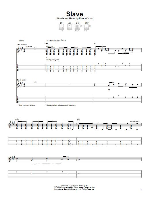 Tablature guitare Slave de Weezer - Tablature Guitare