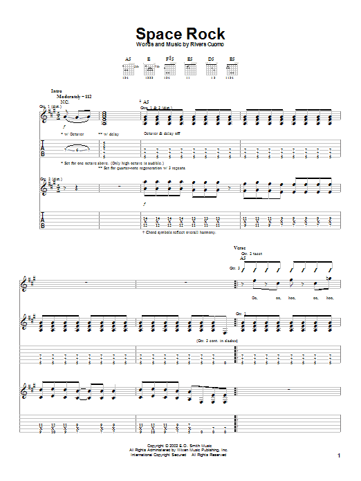Tablature guitare Space Rock de Weezer - Tablature Guitare