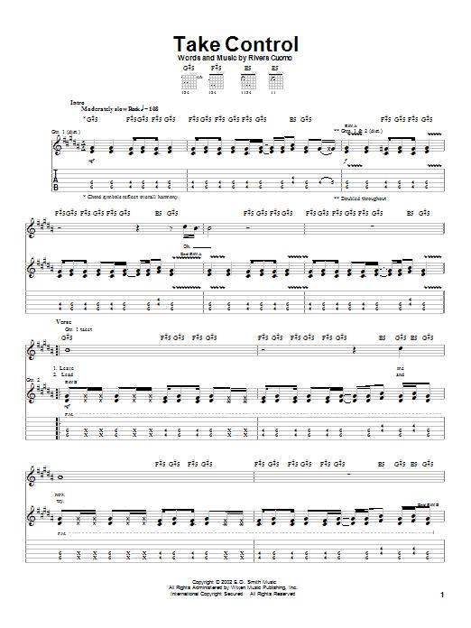 Tablature guitare Take Control de Weezer - Tablature Guitare