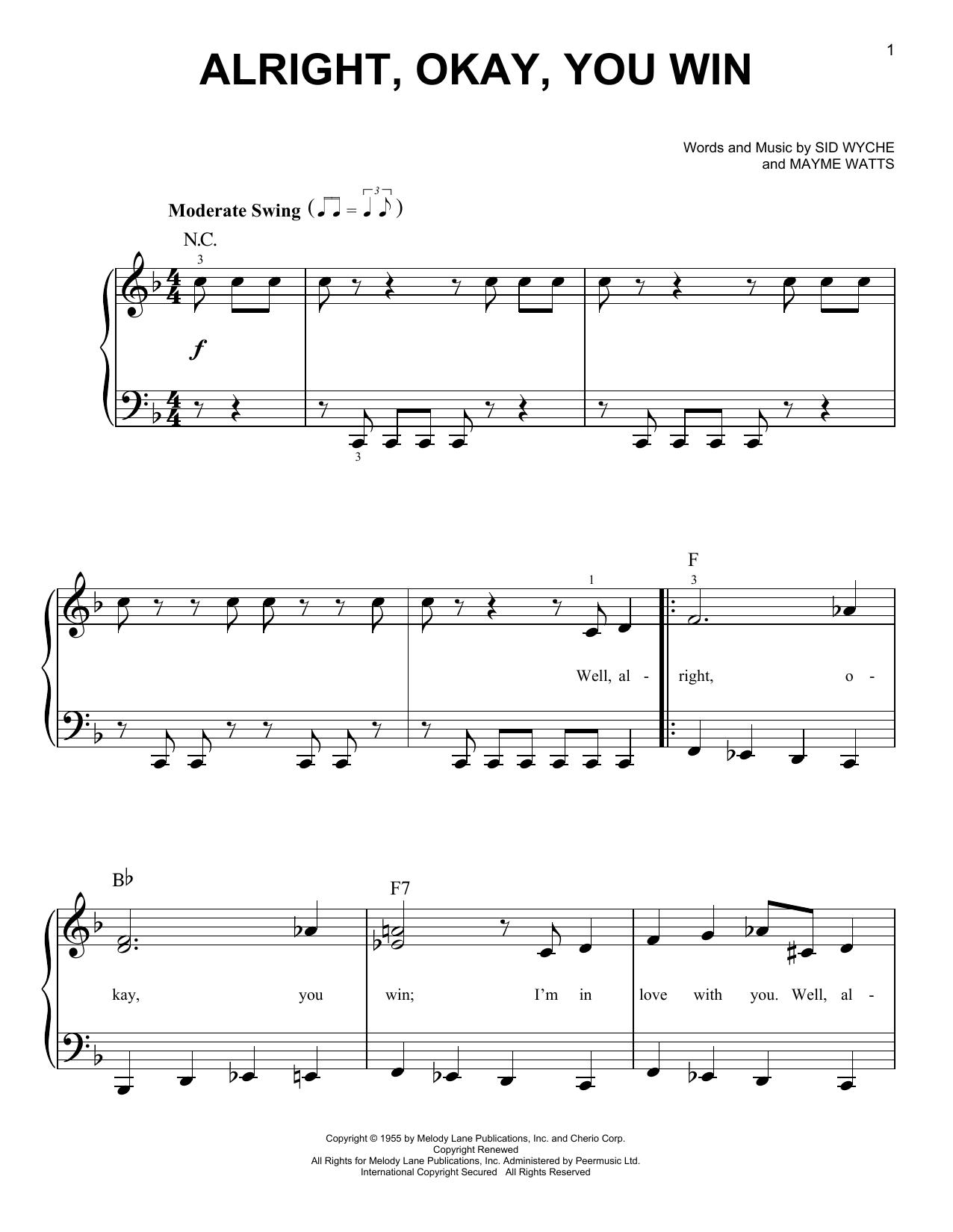 Partition piano Alright, Okay, You Win de Peggy Lee - Piano Facile