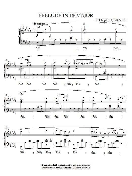 Partition piano Prelude in Db Major, Op.28, No.15 (Raindrop) de Frederic Chopin - Piano Solo
