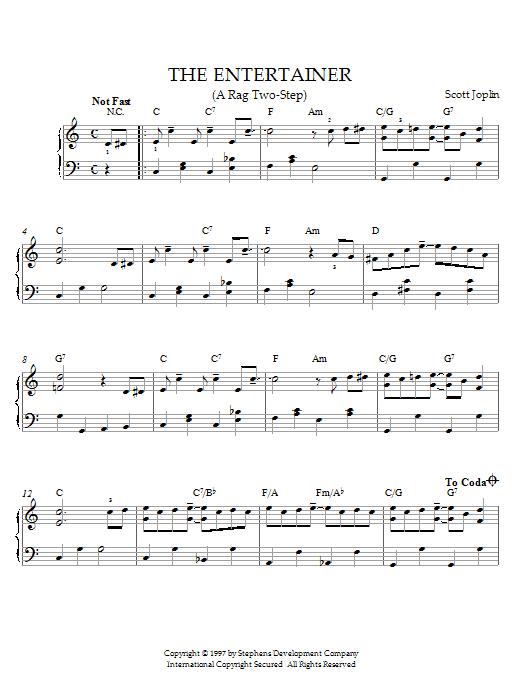 Partition piano The Entertainer de Scott Joplin - Piano Solo