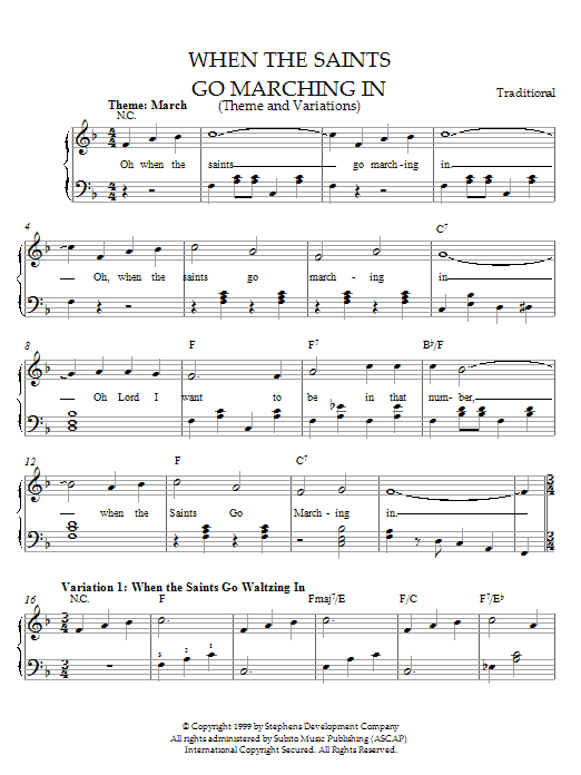 Partition piano When The Saints Go Marching In (Theme and Variations) de Traditional - Piano Facile
