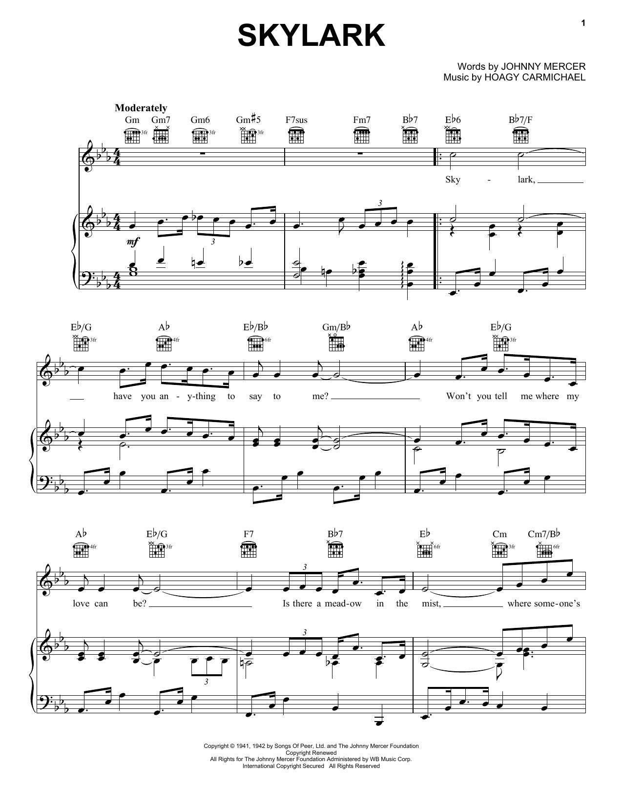 Partition piano Skylark de Johnny Mercer - Piano Voix Guitare (Mélodie Main Droite)
