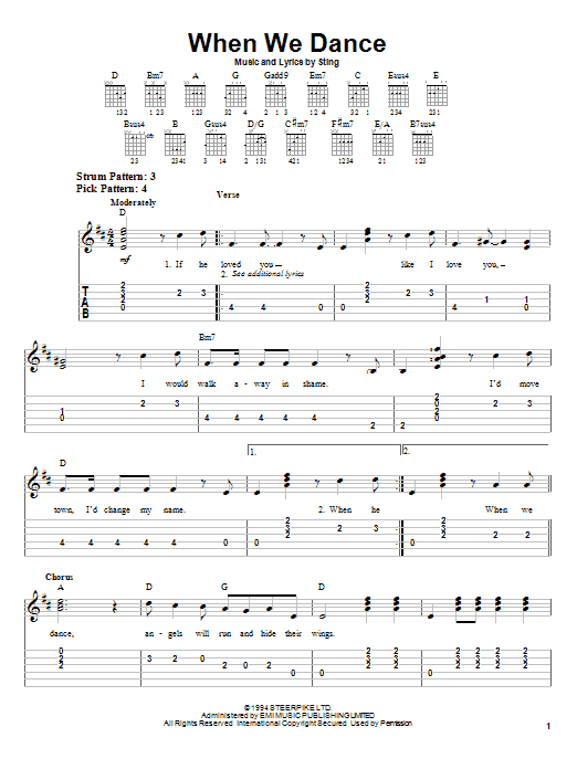 Tablature guitare When We Dance de Sting - Tablature guitare facile