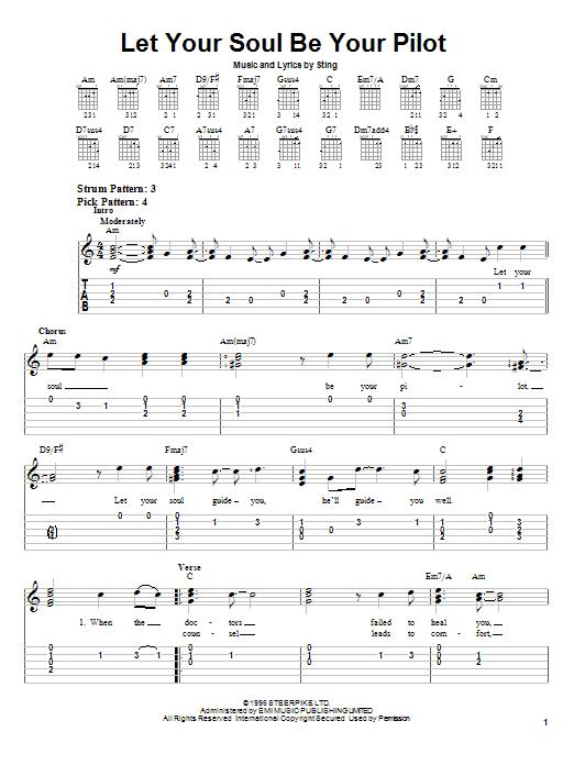 Tablature guitare Let Your Soul Be Your Pilot de Sting - Tablature guitare facile