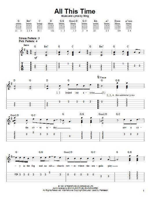 Tablature guitare All This Time de Sting - Tablature guitare facile