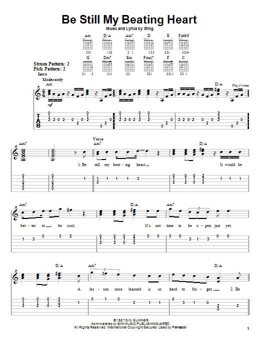 Tablature guitare Be Still My Beating Heart de Sting - Tablature guitare facile