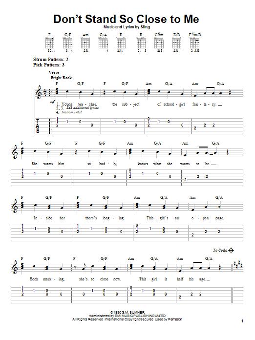 Tablature guitare Don't Stand So Close To Me de The Police - Tablature guitare facile