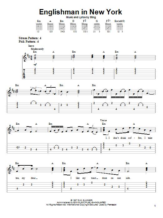 Tablature guitare An Englishman In New York de Sting - Tablature guitare facile