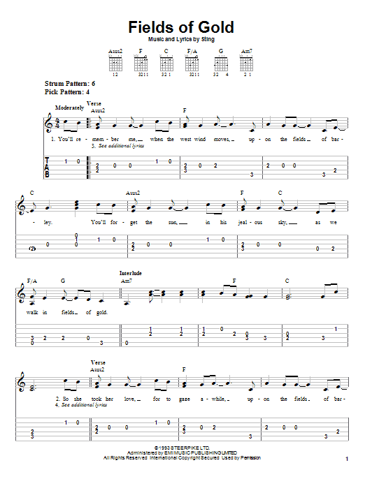 Tablature guitare Fields Of Gold de Sting - Tablature guitare facile