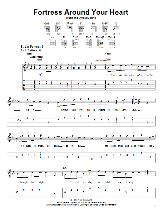 Tablature guitare Fortress Around Your Heart de Sting - Tablature guitare facile