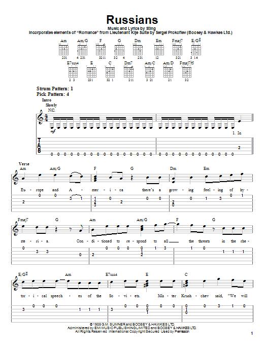 Tablature guitare Russians de Sting - Tablature guitare facile