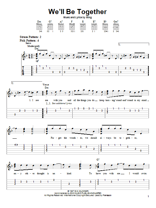 Tablature guitare We'll Be Together de Sting - Tablature guitare facile