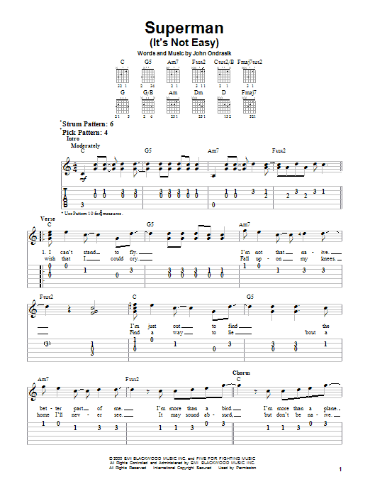 Tablature guitare Superman (It's Not Easy) de Five For Fighting - Tablature guitare facile