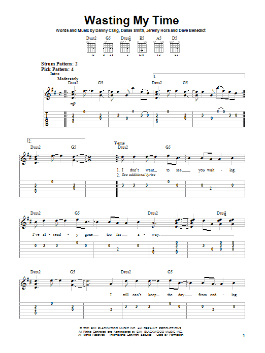 Wasting My Time sheet music for guitar solo (chords) by Jeremy Hora