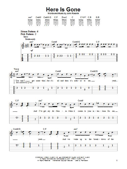 Tablature guitare Here Is Gone de Goo Goo Dolls - Tablature guitare facile