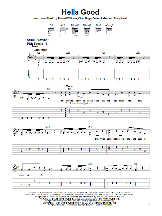 Tablature guitare Hella Good de No Doubt - Tablature guitare facile