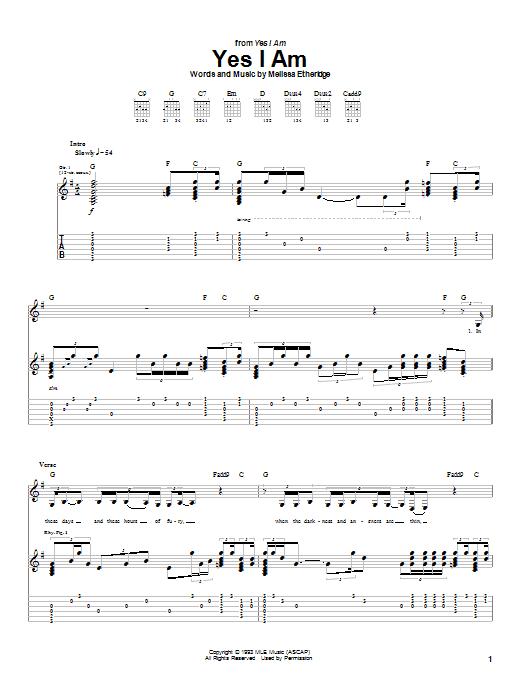 Tablature guitare Yes I Am de Melissa Etheridge - Tablature Guitare