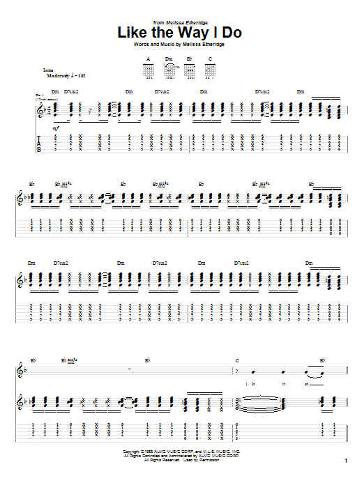Tablature guitare Like The Way I Do de Melissa Etheridge - Tablature Guitare