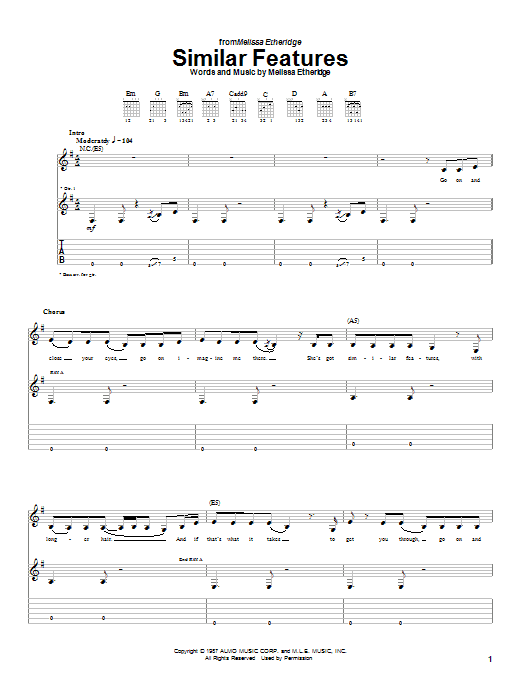 Tablature guitare Similar Features de Melissa Etheridge - Tablature Guitare
