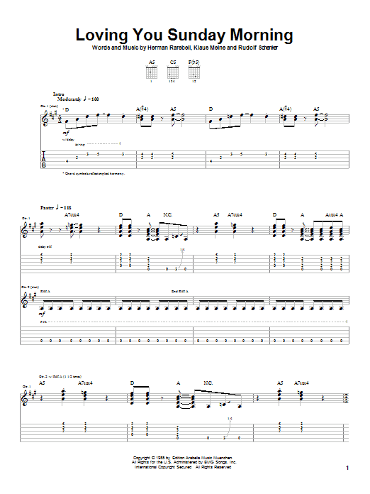 Loving You Sunday Morning sheet music for guitar solo (tablature) by Rudolf Schenker