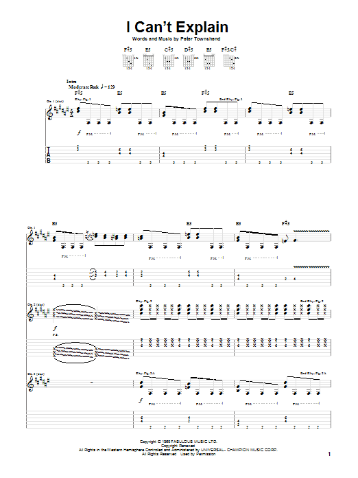 Tablature guitare I Can't Explain de The Who - Tablature Guitare