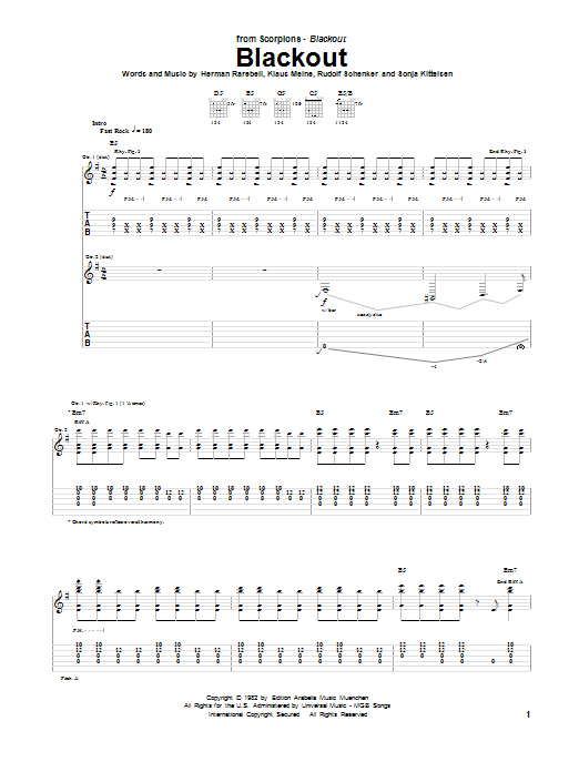 Tablature guitare Blackout de Scorpions - Tablature Guitare