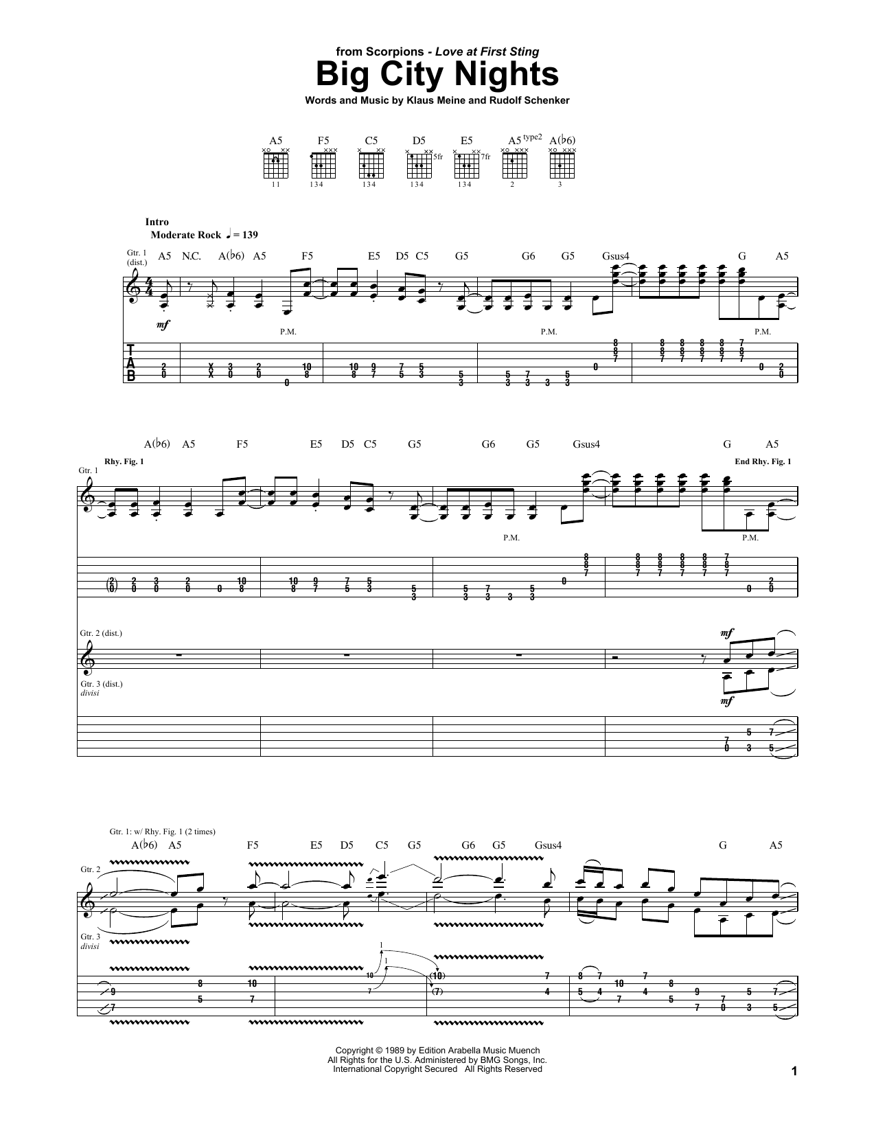 Tablature guitare Big City Nights de Scorpions - Tablature Guitare