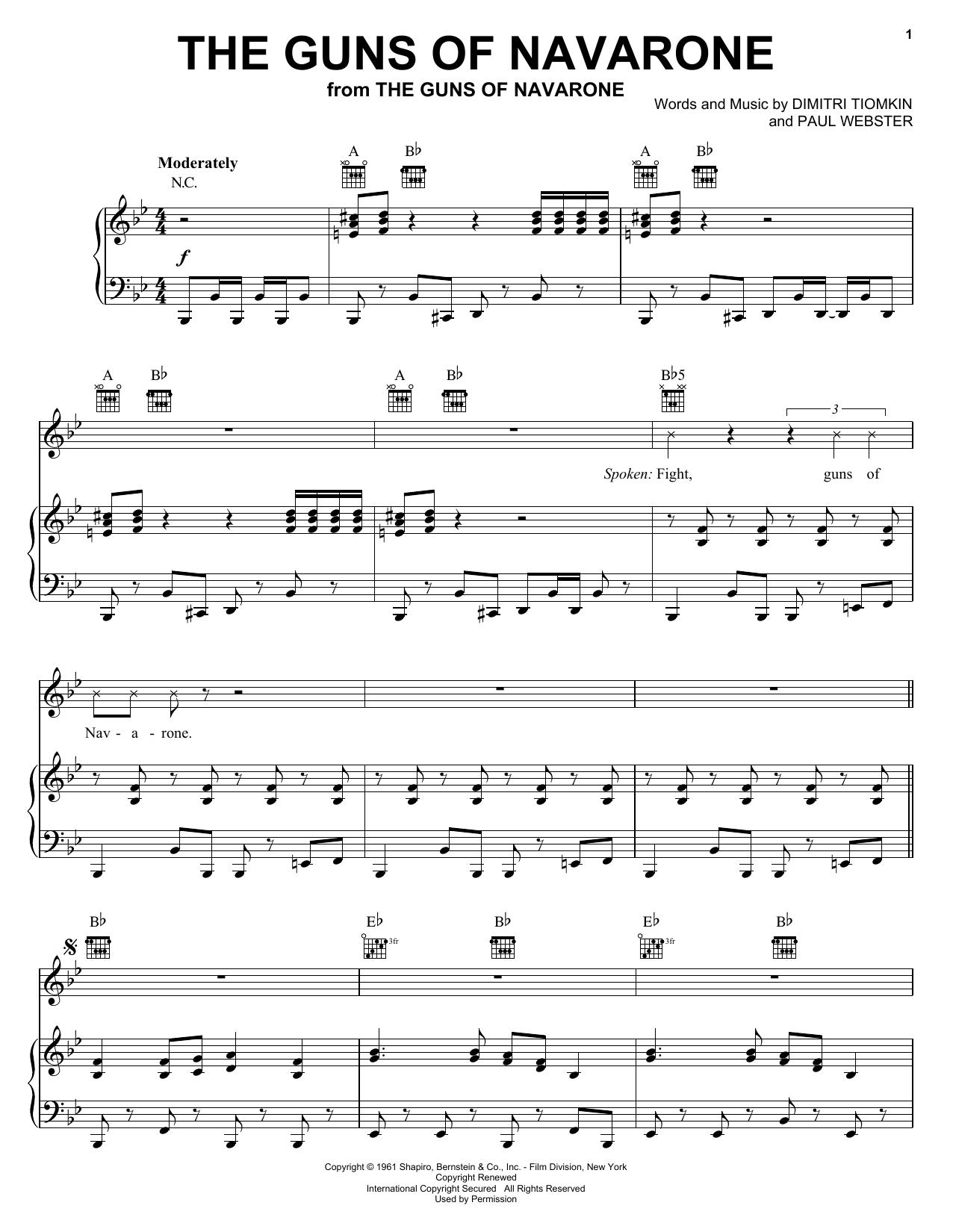 Partition piano The Guns Of Navarone de Dimitri Tiomkin - Piano Voix Guitare (Mélodie Main Droite)