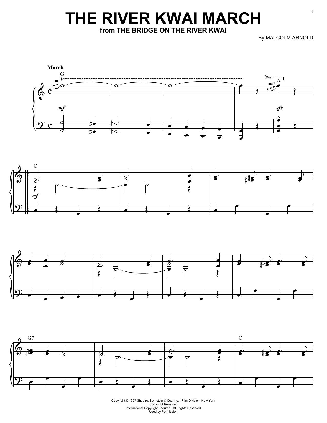 Partition piano The River Kwai March de Malcolm Arnold - Piano Voix Guitare (Mélodie Main Droite)