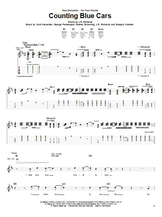 Tablature guitare Counting Blue Cars de Dishwalla - Tablature Guitare