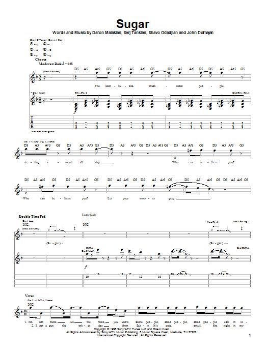 Tablature guitare Sugar de System Of A Down - Tablature Guitare