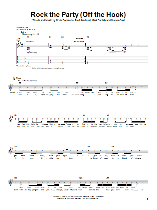 Tablature guitare Rock The Party (Off The Hook) de P.O.D. (Payable On Death) - Tablature Guitare