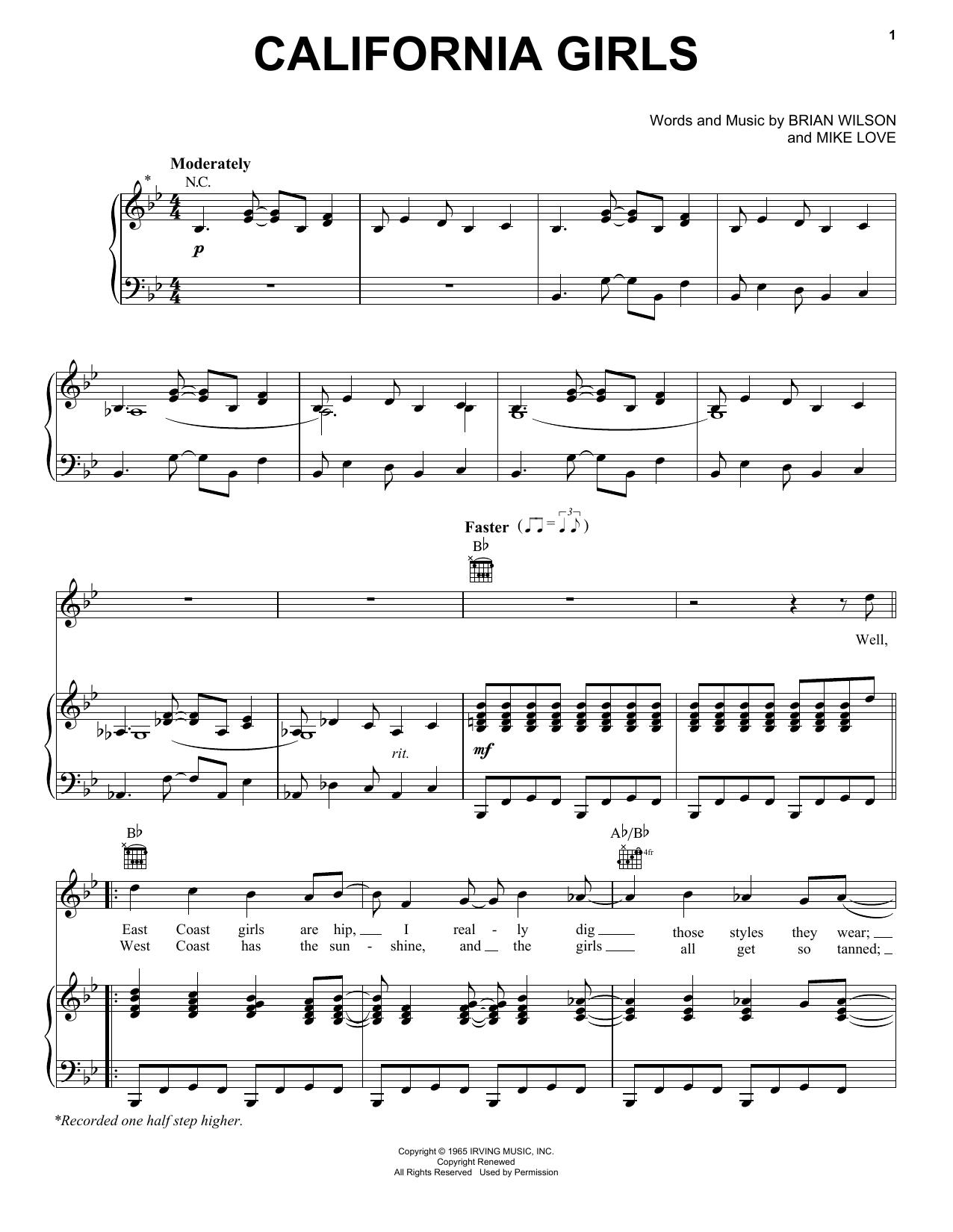 Partition piano California Girls de The Beach Boys - Piano Voix Guitare (Mélodie Main Droite)