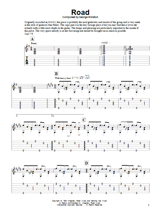 Road sheet music for guitar solo by George Winston