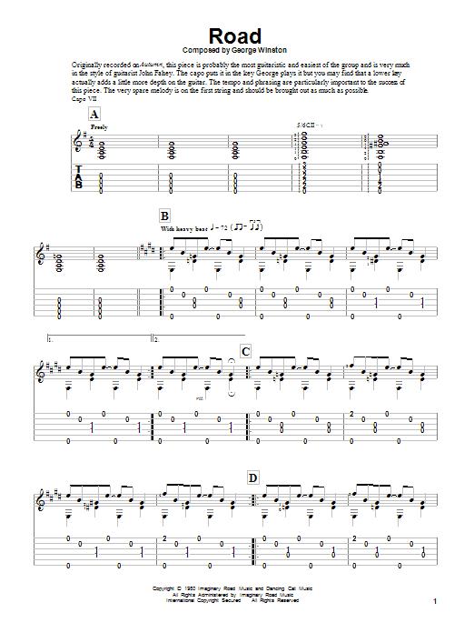 Tablature guitare Road de George Winston - Tablature Guitare