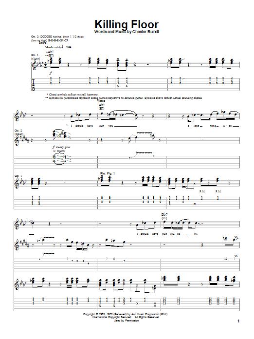 Tablature guitare Killing Floor de Howlin' Wolf - Tablature Guitare