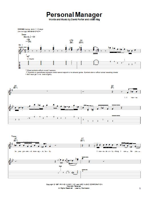 Tablature guitare Personal Manager de Albert King - Tablature Guitare