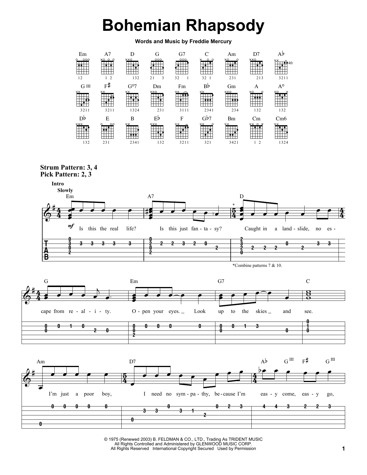 Bohemian Rhapsody sheet music by Queen (Easy Guitar u2013 21874)