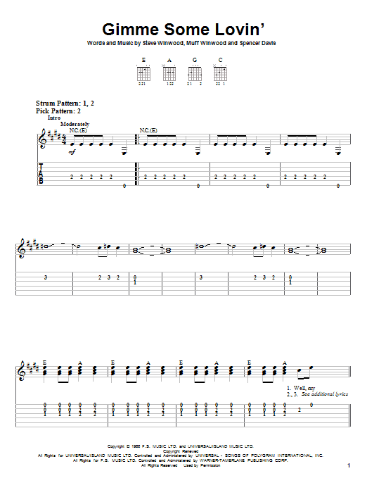 Gimme Some Lovin' sheet music for guitar solo (easy tablature) by Spencer Davis