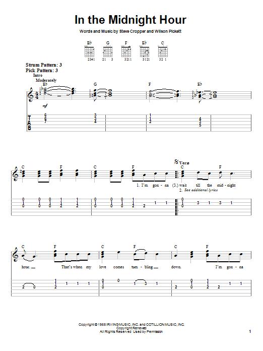 Tablature guitare In The Midnight Hour de Wilson Pickett - Tablature guitare facile