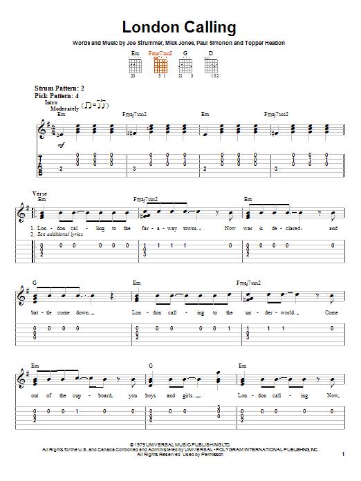 Tablature guitare London Calling de The Clash - Tablature guitare facile