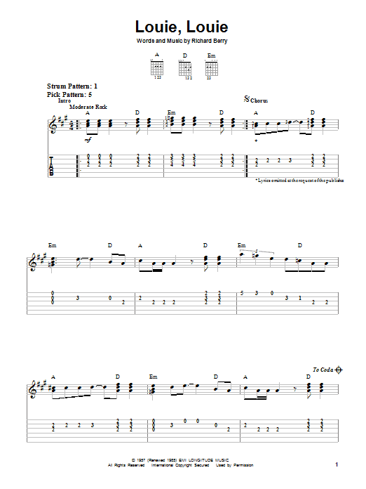 Tablature guitare Louie, Louie de The Kingsmen - Tablature guitare facile