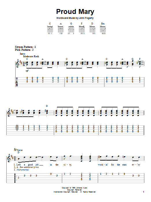 Tablature guitare Proud Mary de Creedence Clearwater Revival - Tablature guitare facile